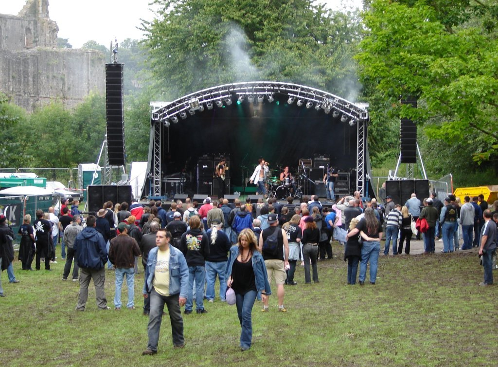 PROTECH Sound in Chepstow Castle Dell.  16 x Martin Audio W8LM Line Array Elements, Flown on our Milos MRT1 Towers, with 6 x Martin Audio S218 Bass Bins a side